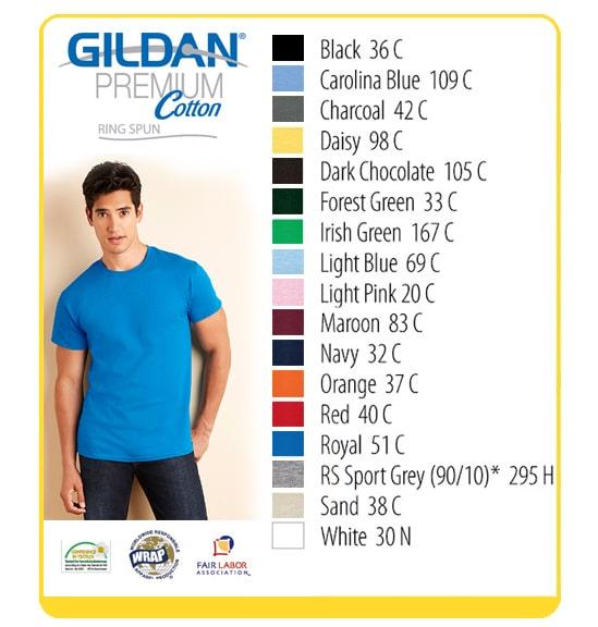 Gildan 76000 Premium Cotton Roundneck T-Shirt (Mens) 100% Cotton Preshrunk  Jersey Knit Ring Spun 24 1 yarn 180 g m2 (5.3 oz per sq yd) for colors 87554cd784