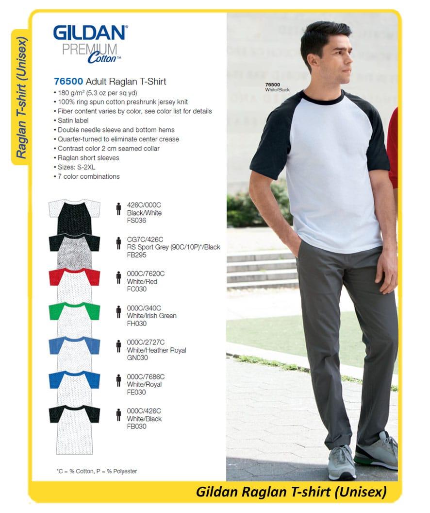 Gildan Premium Cotton Raglan Tshirt - 76500
