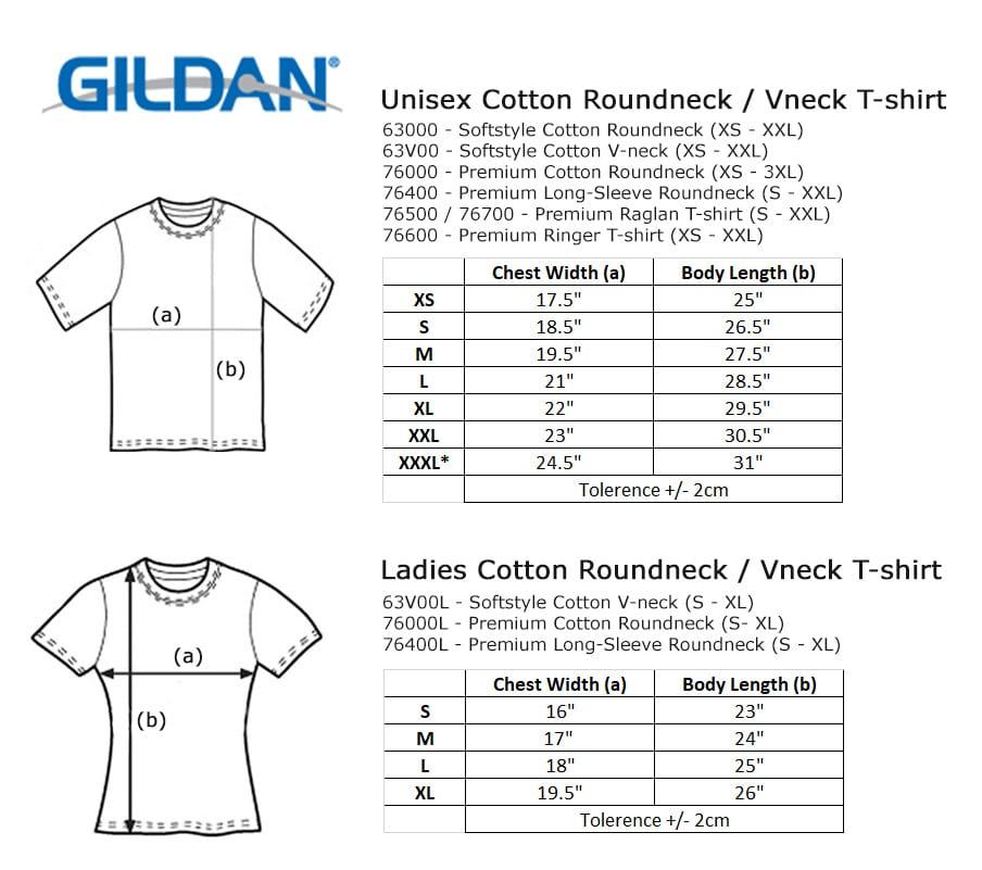 Gildan premium cotton long sleeve tshirt singapore orangebox for Gildan t shirt size chart